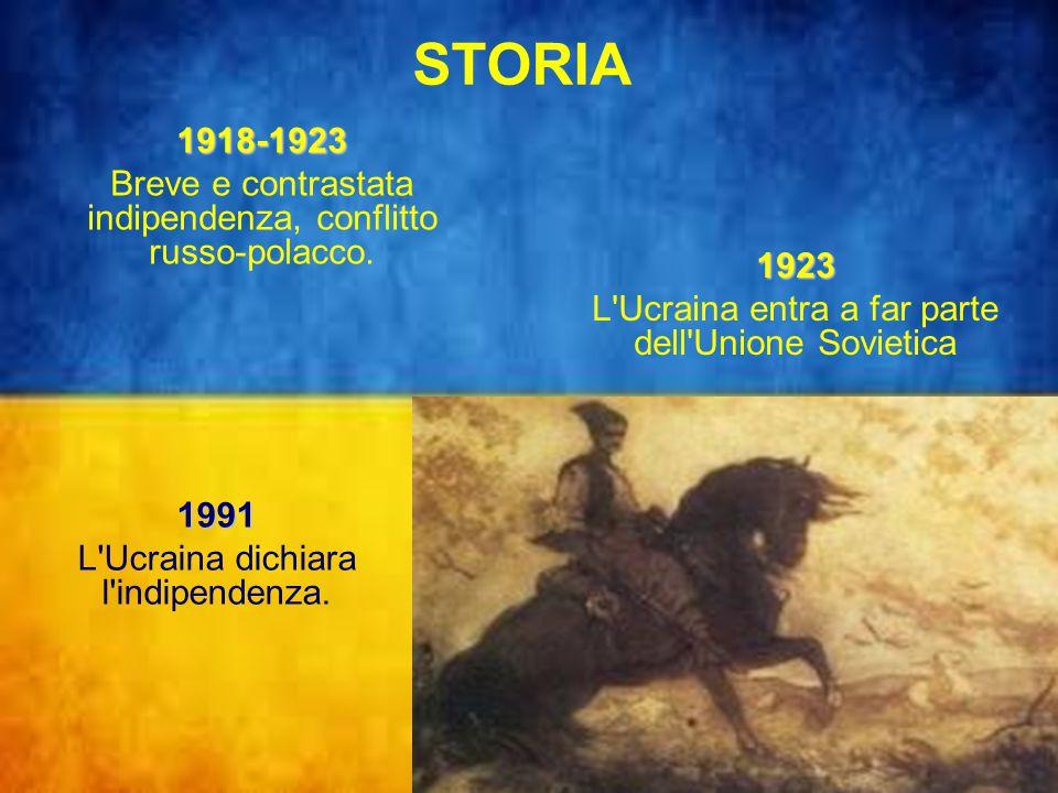 STORIA 1918-1923. Breve e contrastata indipendenza, conflitto russo-polacco. 1923. L Ucraina entra a far parte dell Unione Sovietica.