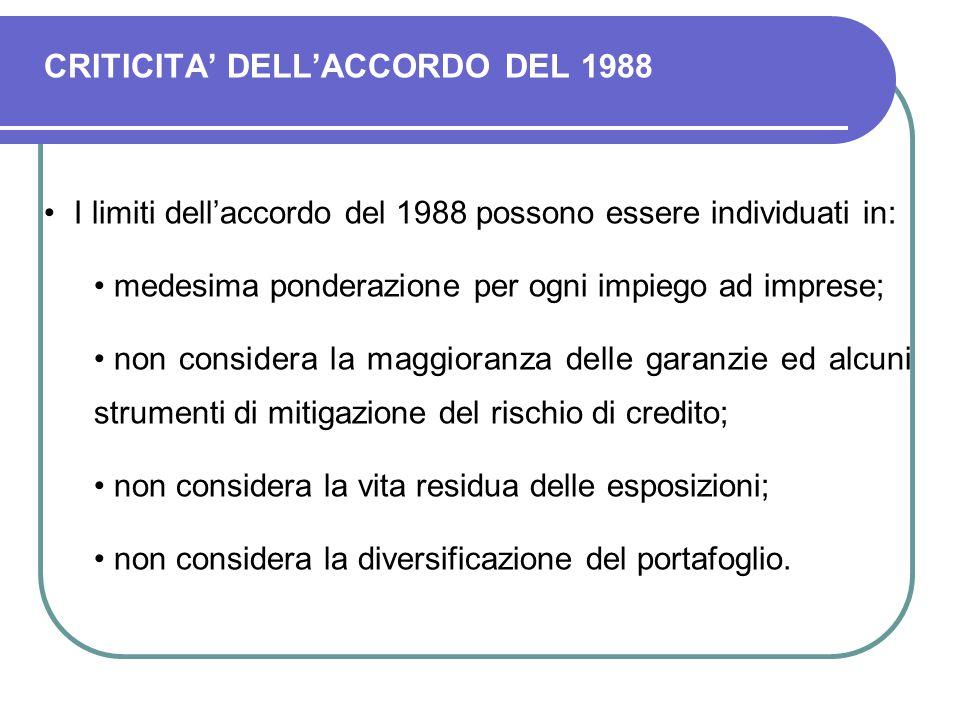 CRITICITA' DELL'ACCORDO DEL 1988