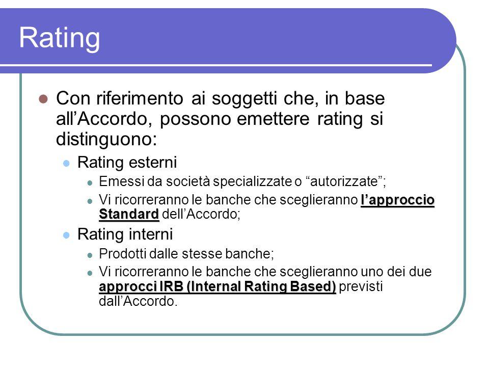 Rating Con riferimento ai soggetti che, in base all'Accordo, possono emettere rating si distinguono: