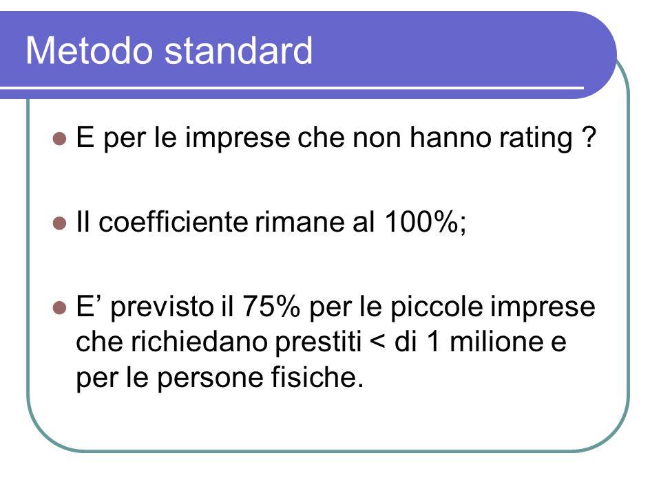Metodo standard E per le imprese che non hanno rating