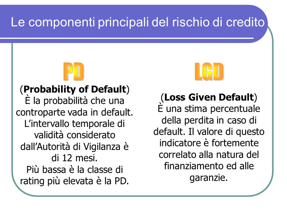 PD LGD Le componenti principali del rischio di credito