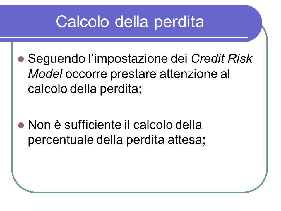Calcolo della perdita Seguendo l'impostazione dei Credit Risk Model occorre prestare attenzione al calcolo della perdita;