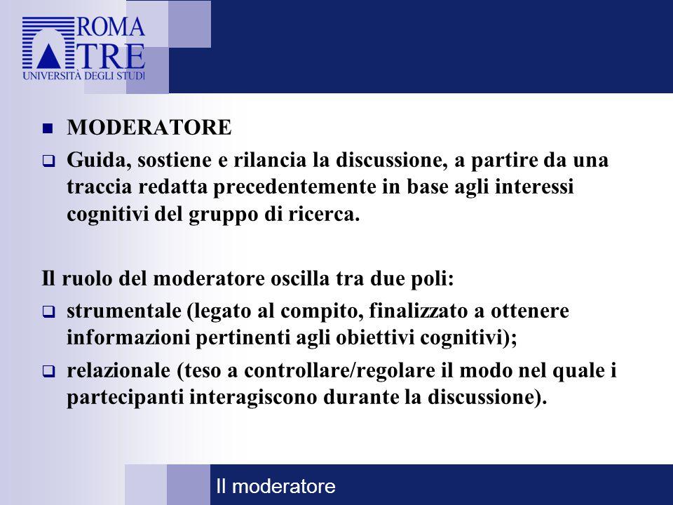 Il ruolo del moderatore oscilla tra due poli: