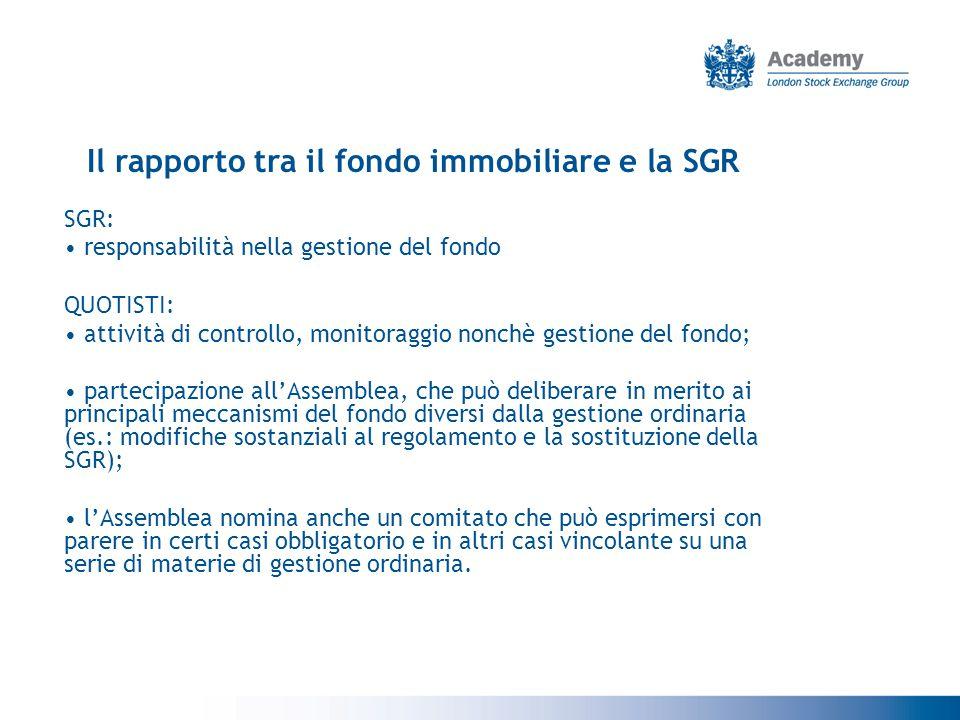 Il rapporto tra il fondo immobiliare e la SGR