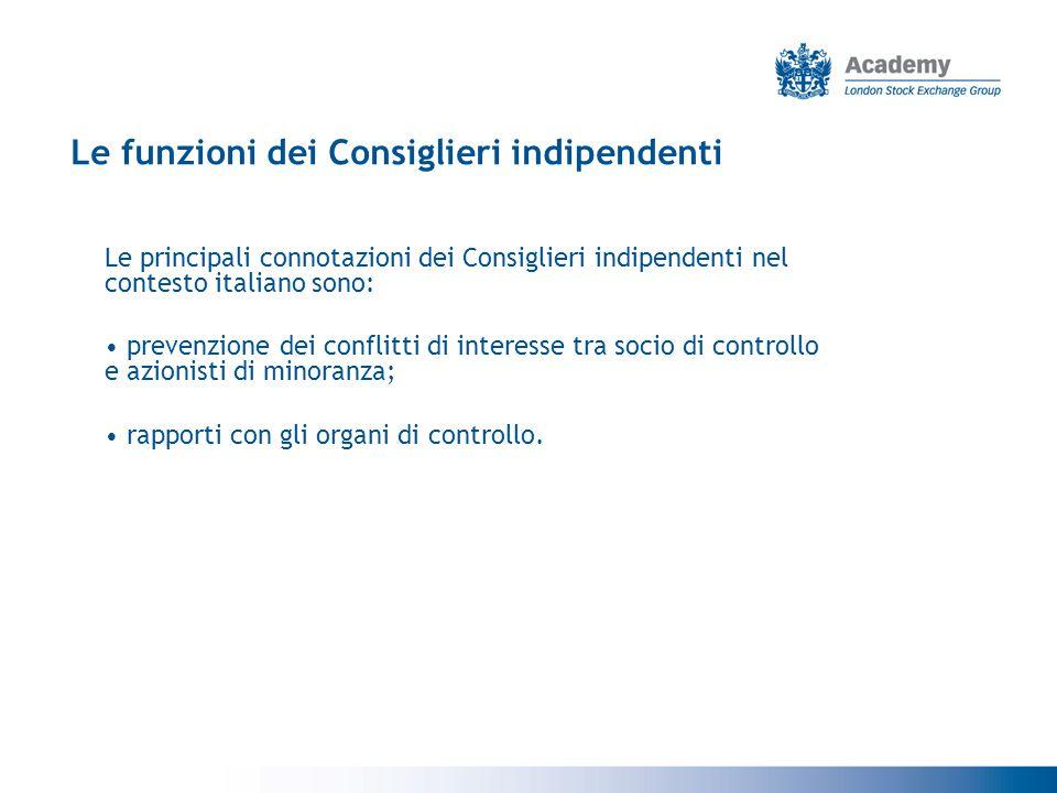 Le funzioni dei Consiglieri indipendenti