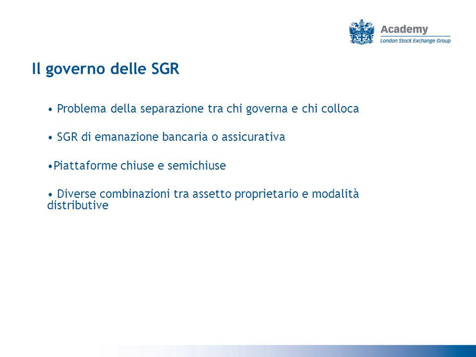 Il governo delle SGR Problema della separazione tra chi governa e chi colloca. SGR di emanazione bancaria o assicurativa.