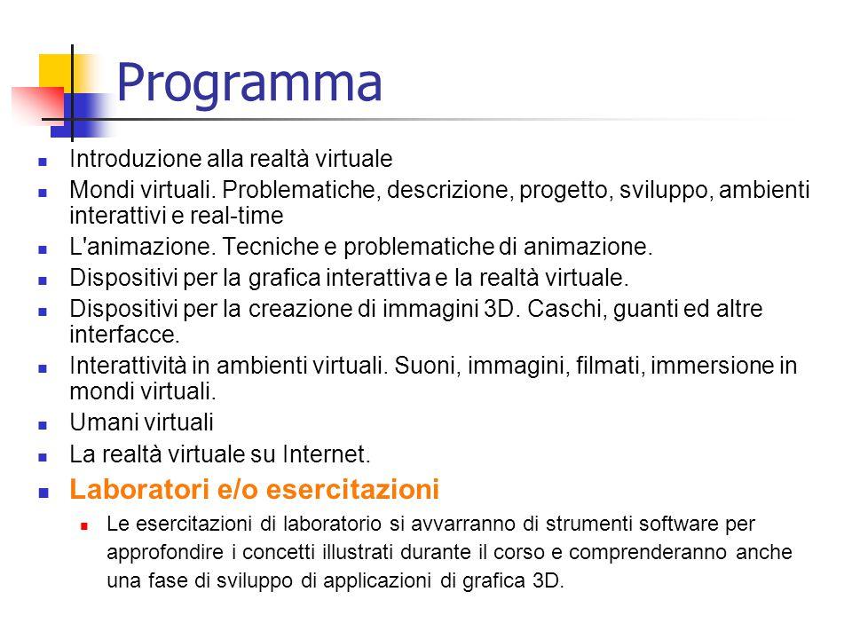 Programma Laboratori e/o esercitazioni