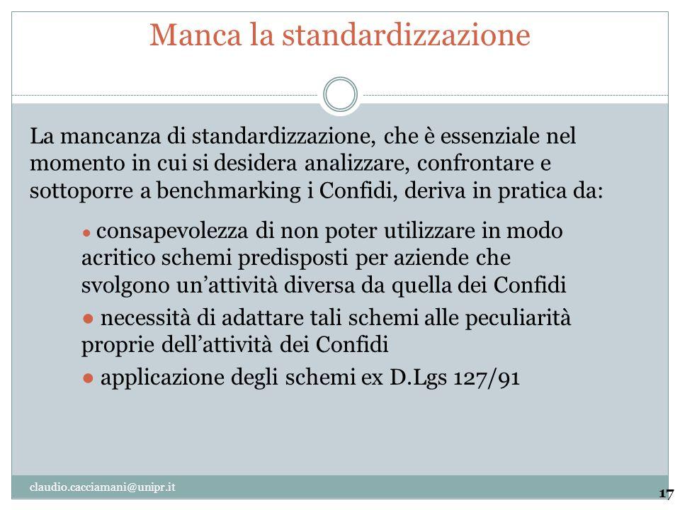 Manca la standardizzazione