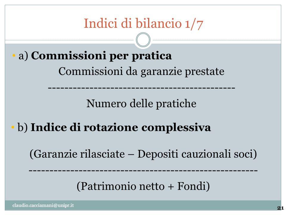 Indici di bilancio 1/7 a) Commissioni per pratica