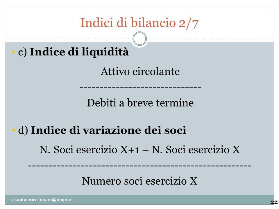 Indici di bilancio 2/7 c) Indice di liquidità Attivo circolante