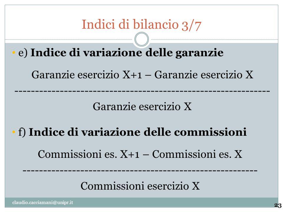 Indici di bilancio 3/7 e) Indice di variazione delle garanzie