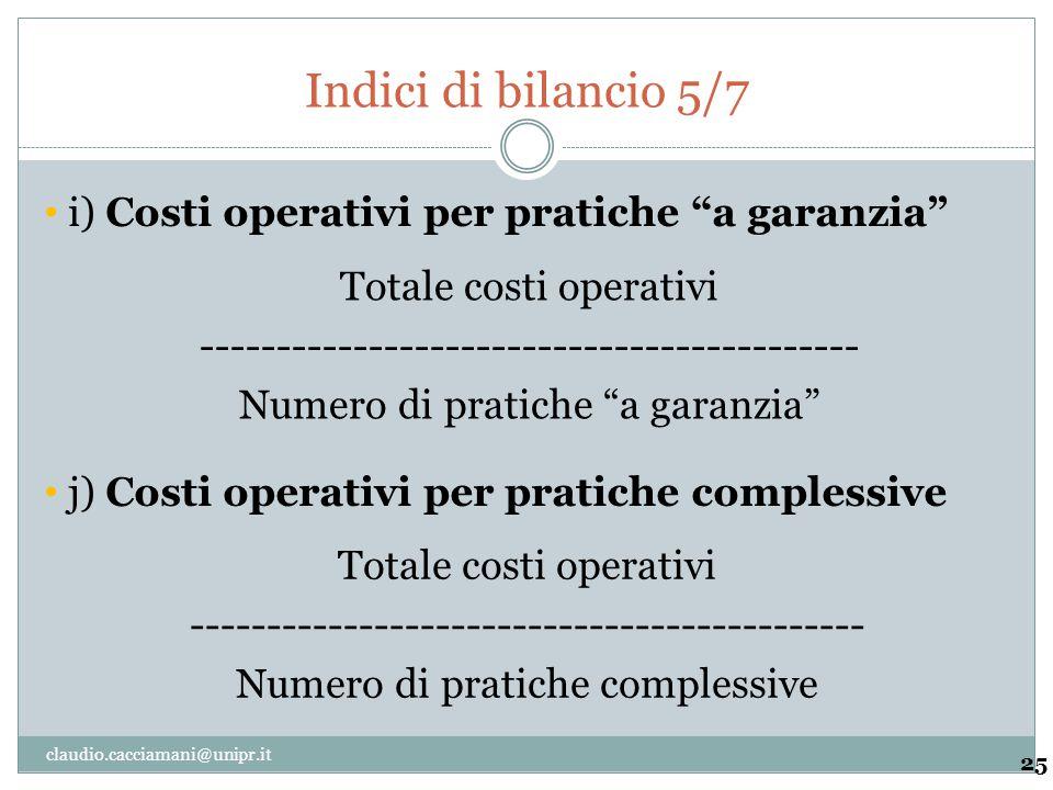 Indici di bilancio 5/7 i) Costi operativi per pratiche a garanzia