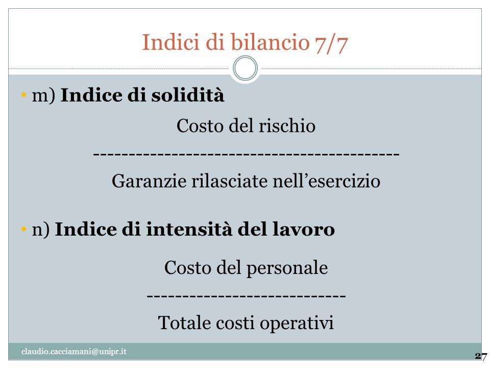 Indici di bilancio 7/7 m) Indice di solidità Costo del rischio