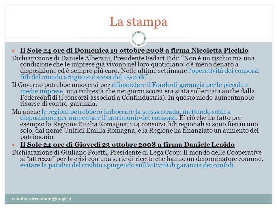 La stampa Il Sole 24 ore di Domenica 19 ottobre 2008 a firma Nicoletta Picchio.