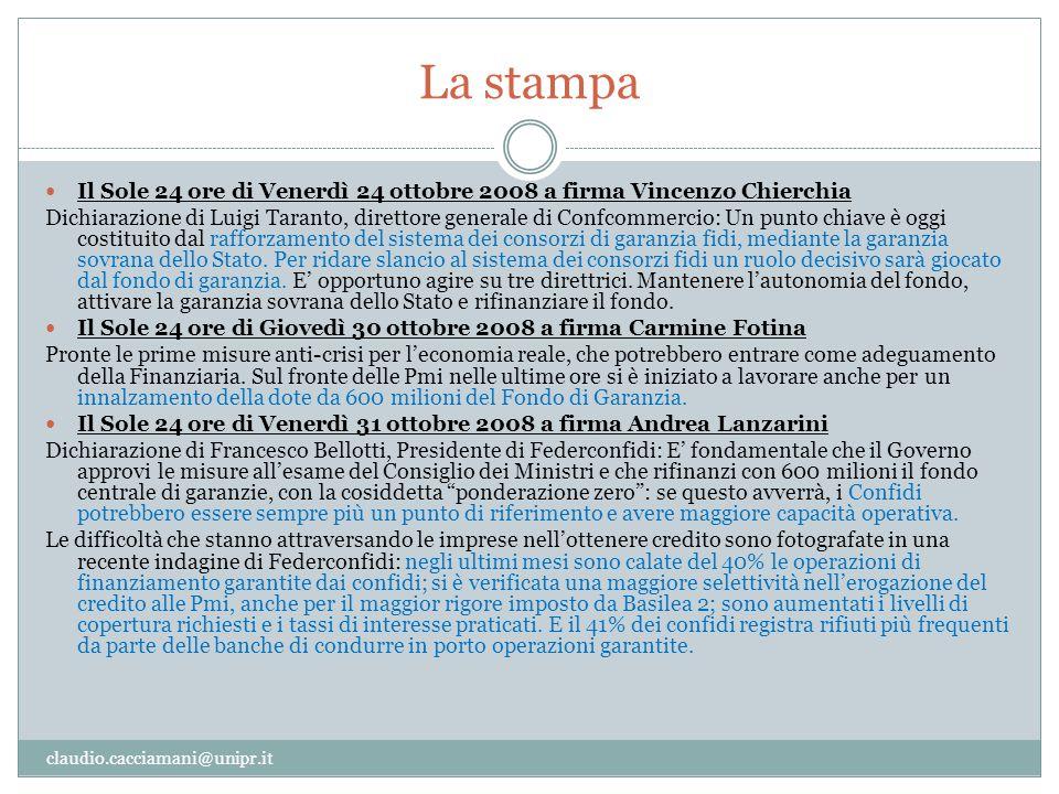 La stampa Il Sole 24 ore di Venerdì 24 ottobre 2008 a firma Vincenzo Chierchia.