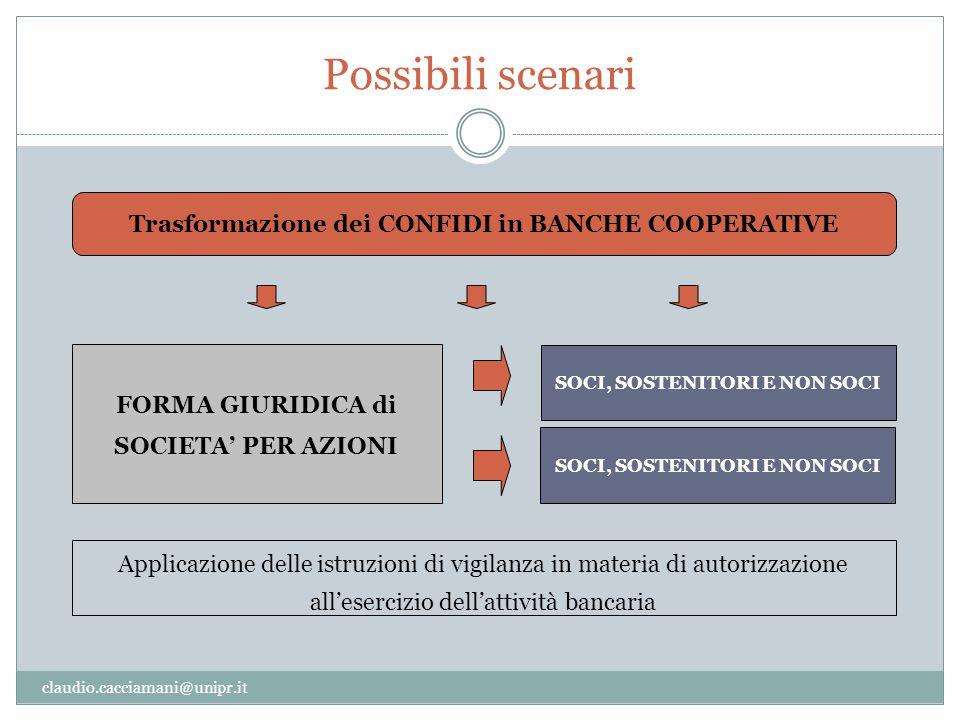 Possibili scenari Trasformazione dei CONFIDI in BANCHE COOPERATIVE
