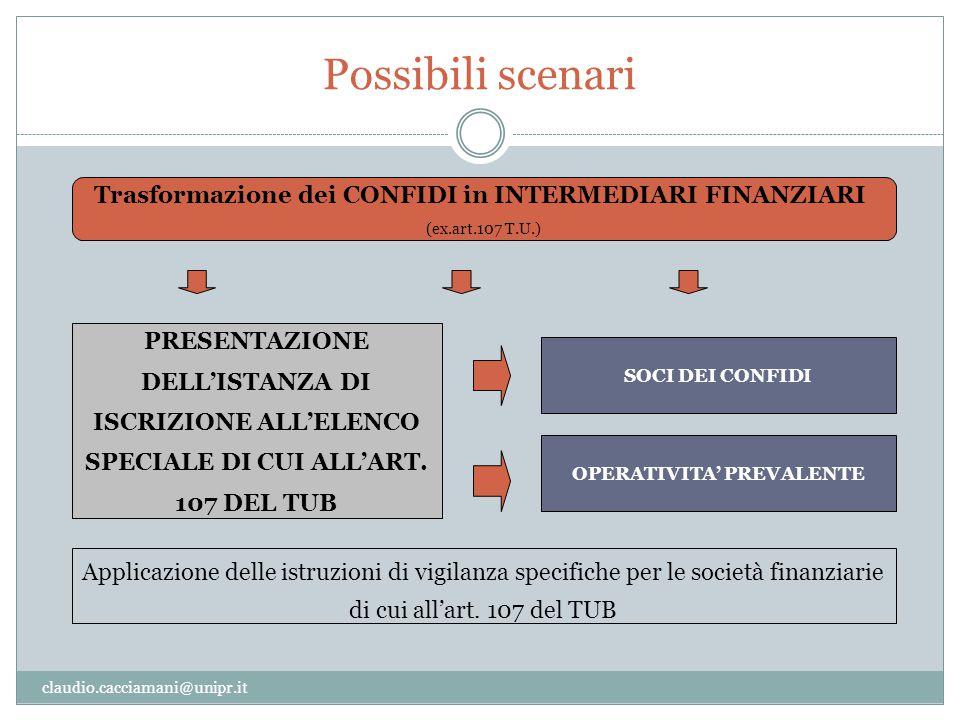 Possibili scenari Trasformazione dei CONFIDI in INTERMEDIARI FINANZIARI. (ex.art.107 T.U.)