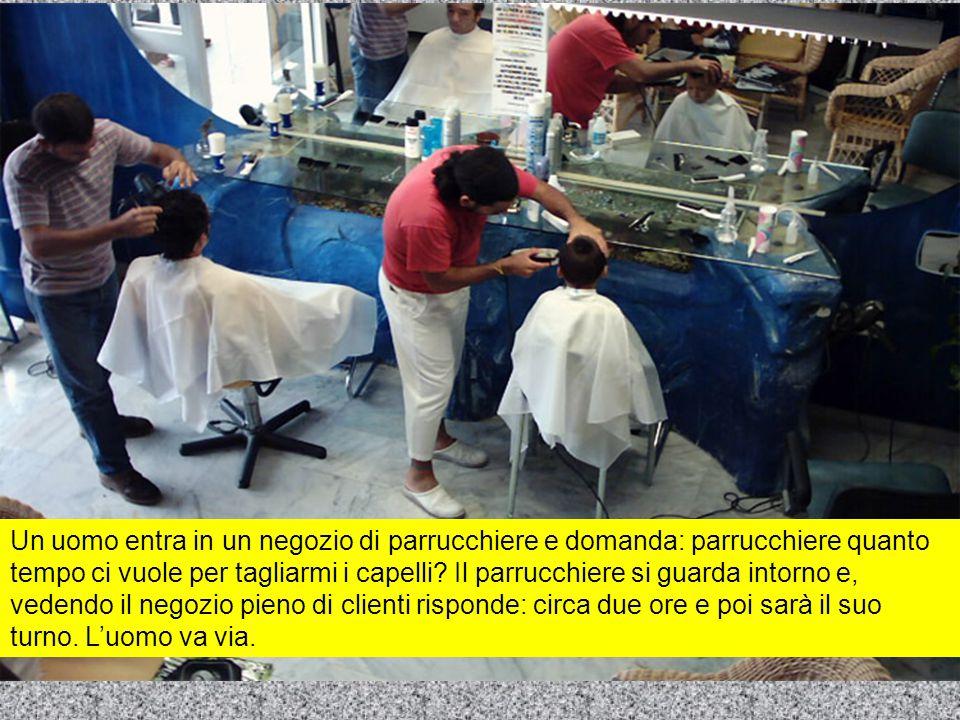 Un uomo entra in un negozio di parrucchiere e domanda: parrucchiere quanto tempo ci vuole per tagliarmi i capelli.