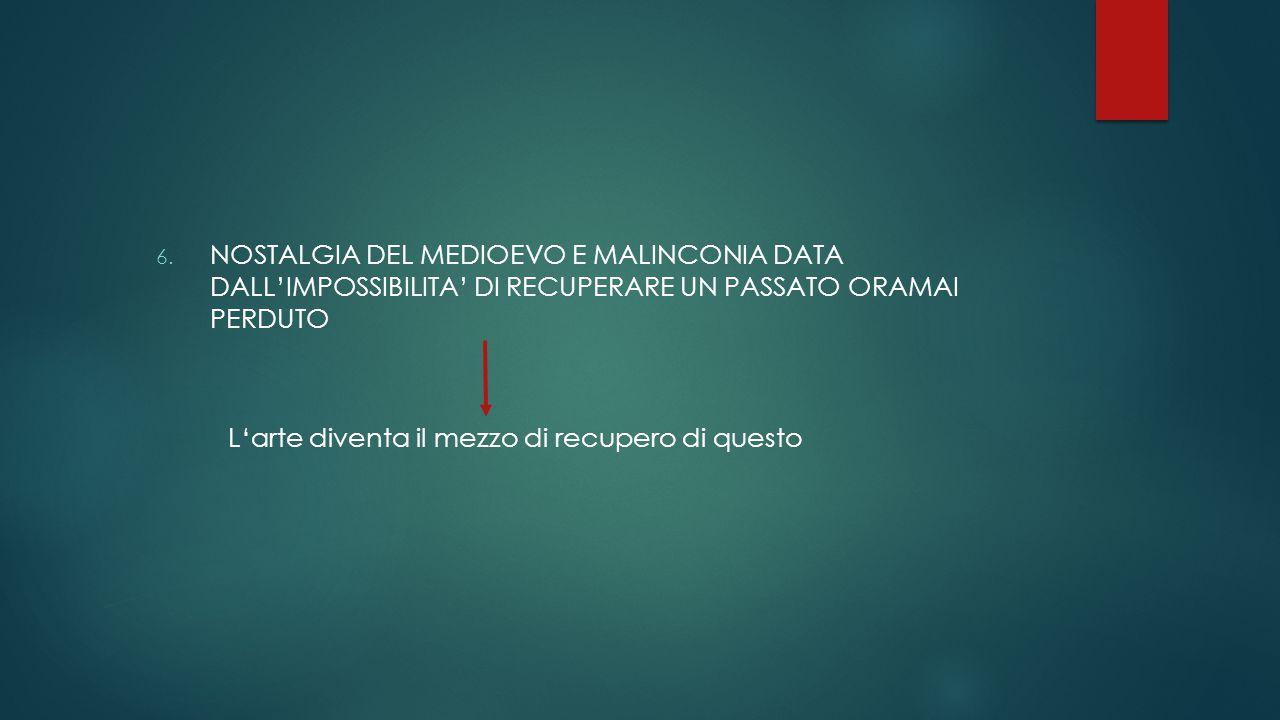NOSTALGIA DEL MEDIOEVO E MALINCONIA DATA DALL'IMPOSSIBILITA' DI RECUPERARE UN PASSATO ORAMAI PERDUTO