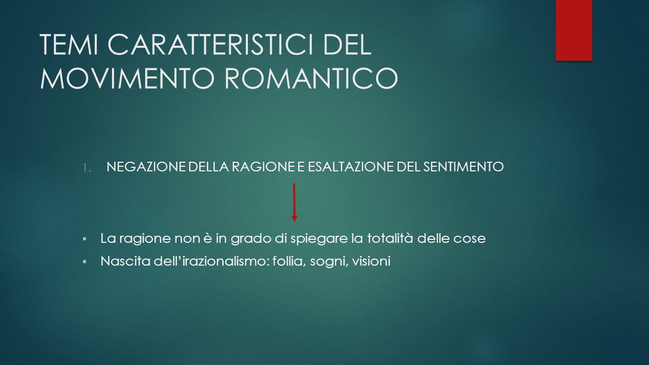 TEMI CARATTERISTICI DEL MOVIMENTO ROMANTICO