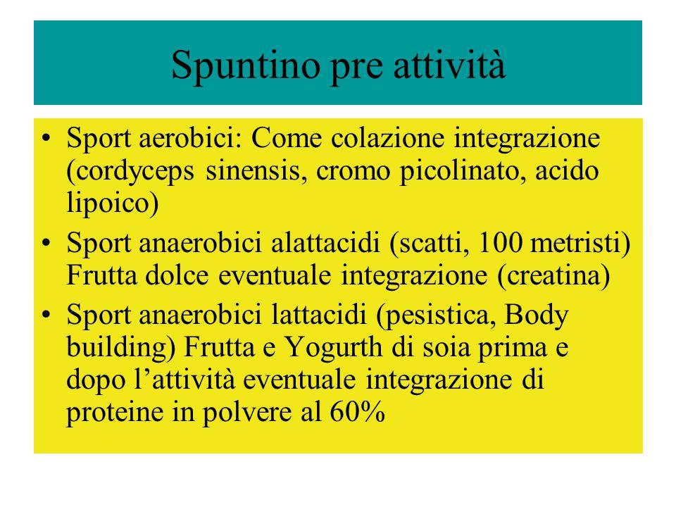 Spuntino pre attività Sport aerobici: Come colazione integrazione (cordyceps sinensis, cromo picolinato, acido lipoico)