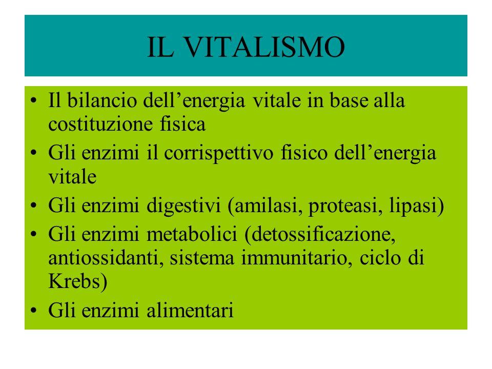 IL VITALISMO Il bilancio dell'energia vitale in base alla costituzione fisica. Gli enzimi il corrispettivo fisico dell'energia vitale.