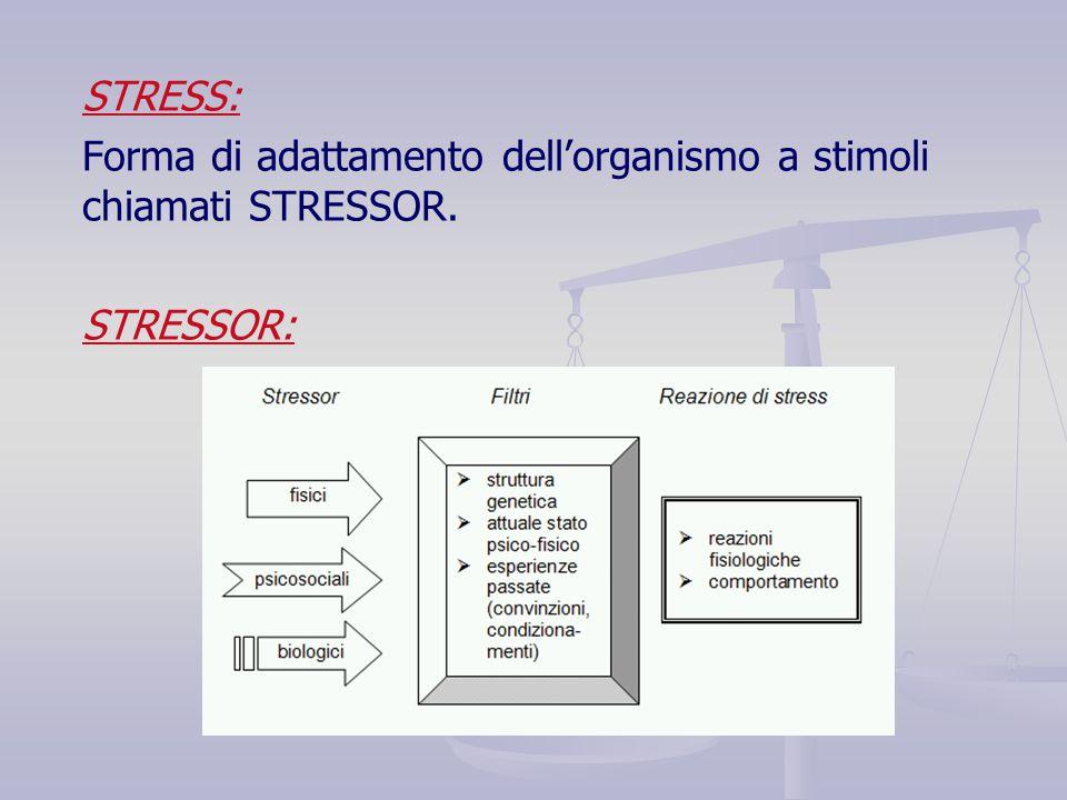 STRESS: Forma di adattamento dell'organismo a stimoli chiamati STRESSOR. STRESSOR: