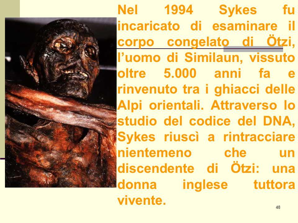 Nel 1994 Sykes fu incaricato di esaminare il corpo congelato di Ötzi, l'uomo di Similaun, vissuto oltre 5.000 anni fa e rinvenuto tra i ghiacci delle Alpi orientali.