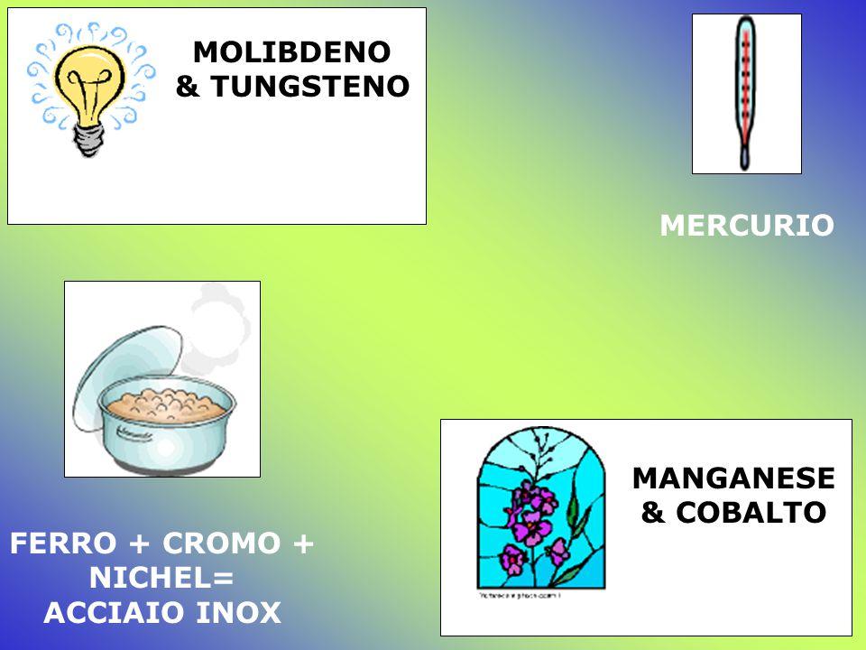 MOLIBDENO & TUNGSTENO MERCURIO FERRO + CROMO + NICHEL= ACCIAIO INOX MANGANESE & COBALTO