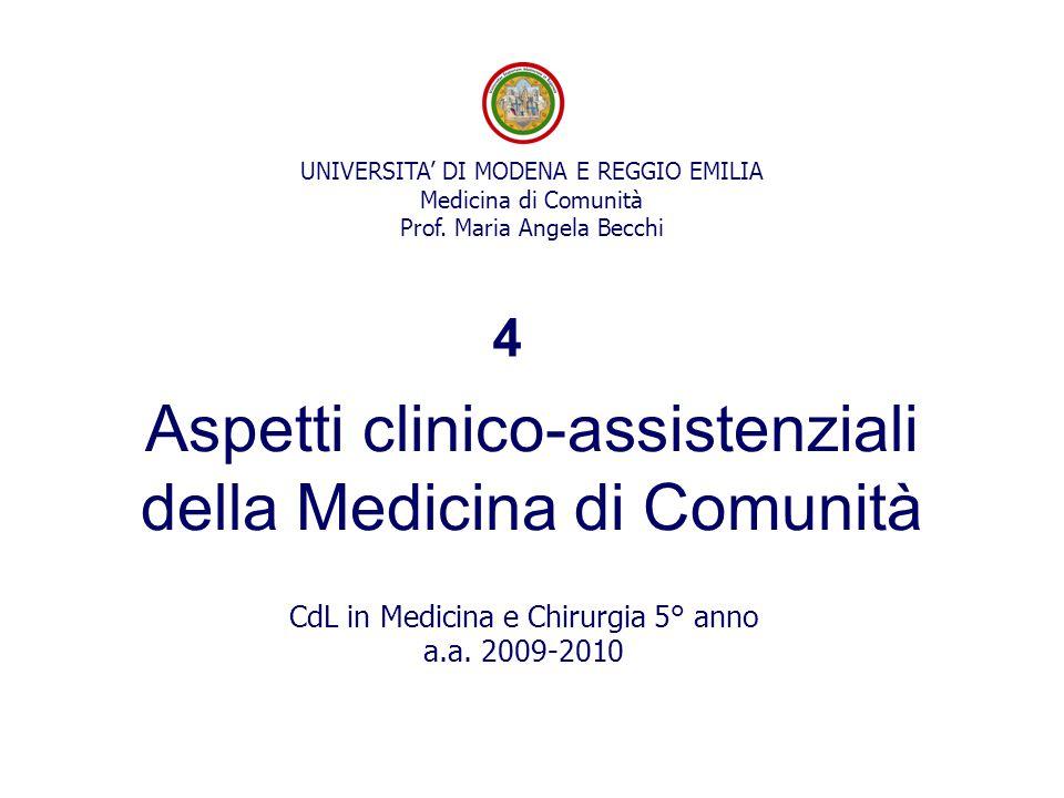 Aspetti clinico-assistenziali della Medicina di Comunità