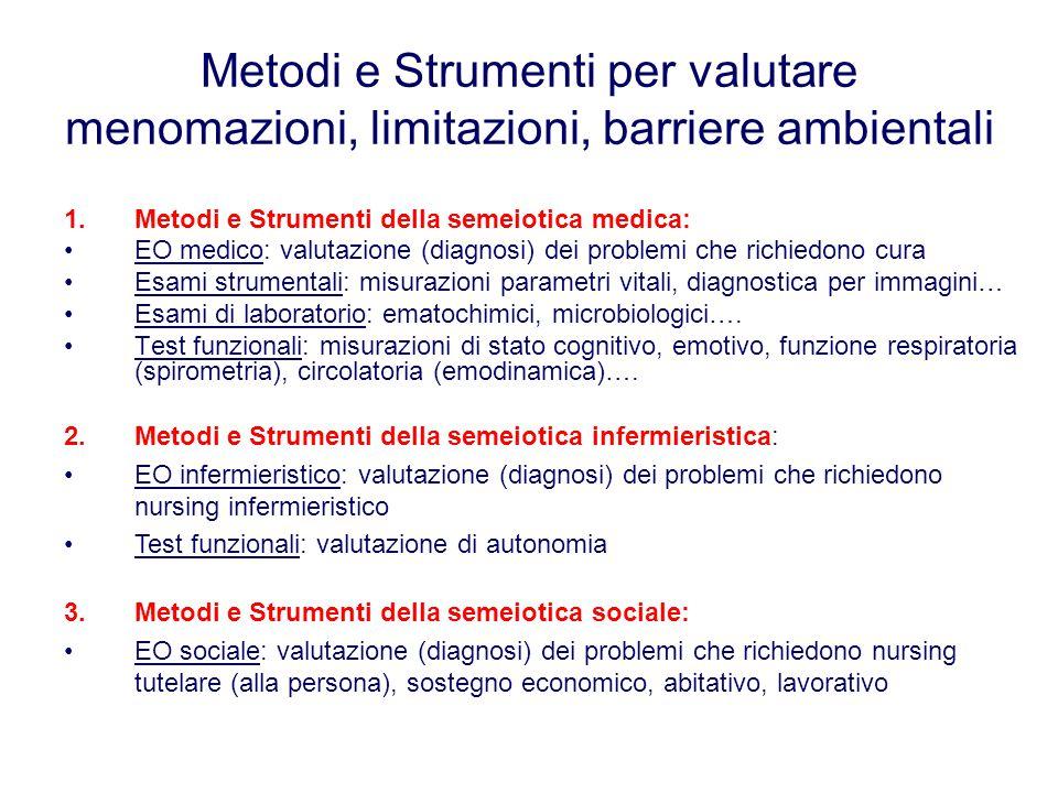 Metodi e Strumenti per valutare menomazioni, limitazioni, barriere ambientali