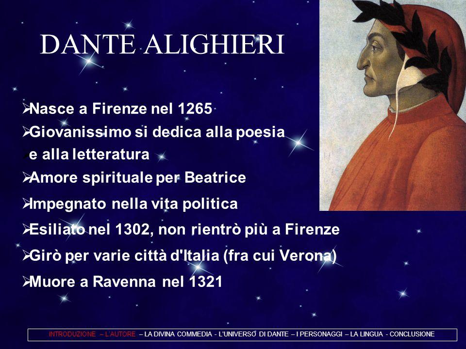 DANTE ALIGHIERI Nasce a Firenze nel 1265
