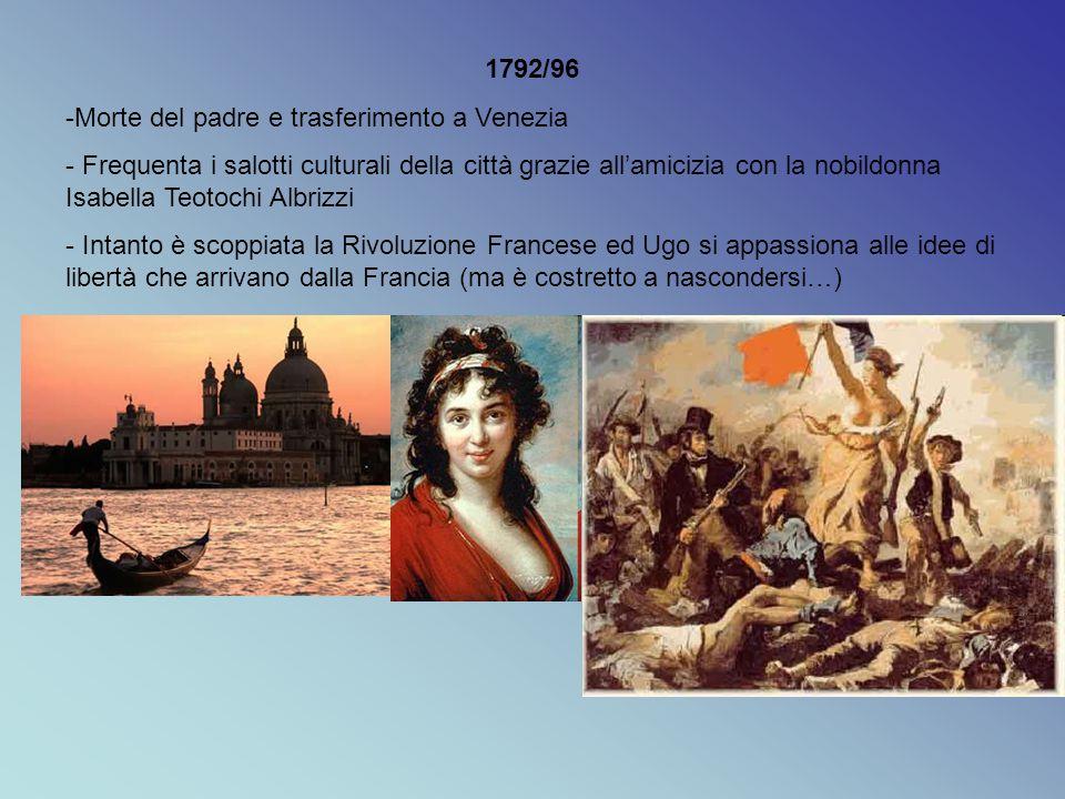 1792/96 Morte del padre e trasferimento a Venezia.