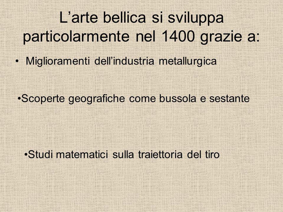 L'arte bellica si sviluppa particolarmente nel 1400 grazie a: