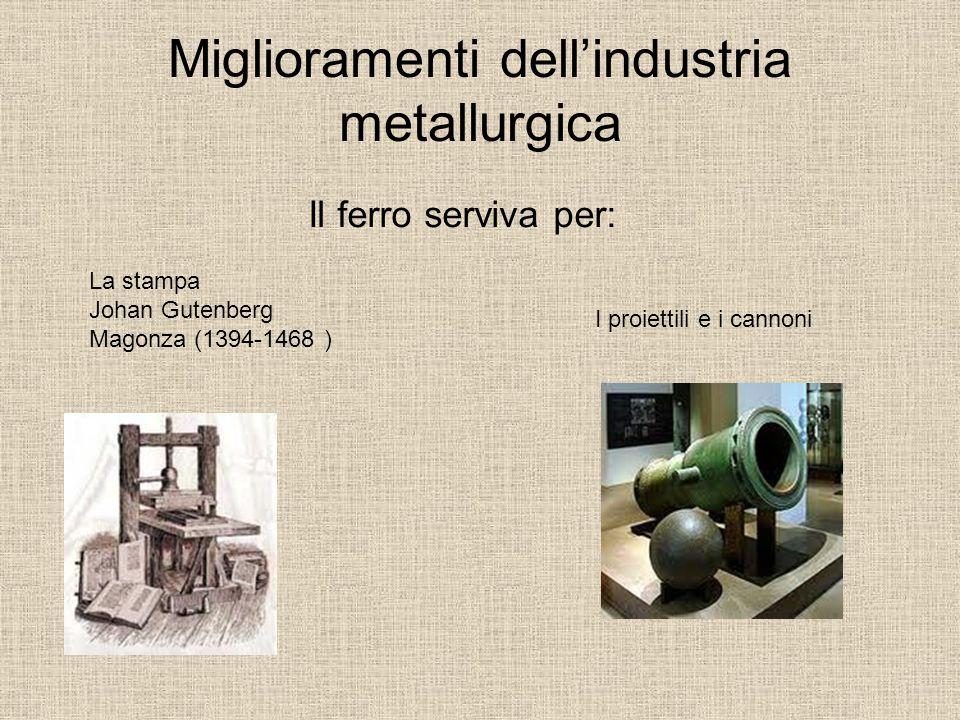 Miglioramenti dell'industria metallurgica