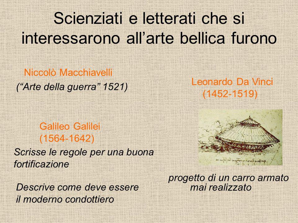 Scienziati e letterati che si interessarono all'arte bellica furono