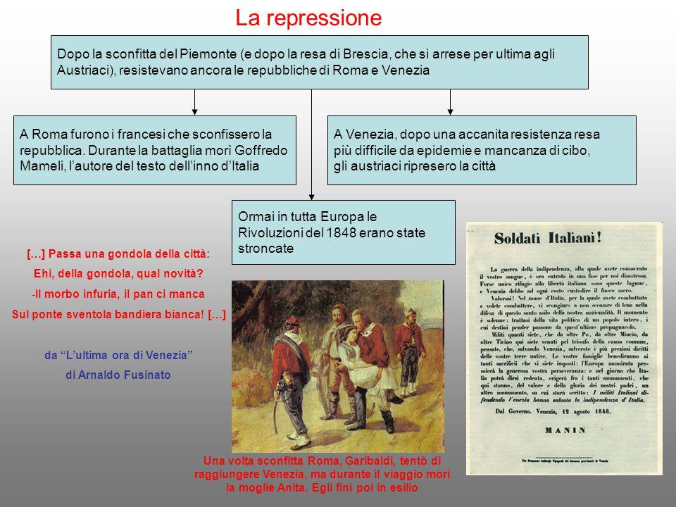 La repressione Dopo la sconfitta del Piemonte (e dopo la resa di Brescia, che si arrese per ultima agli.