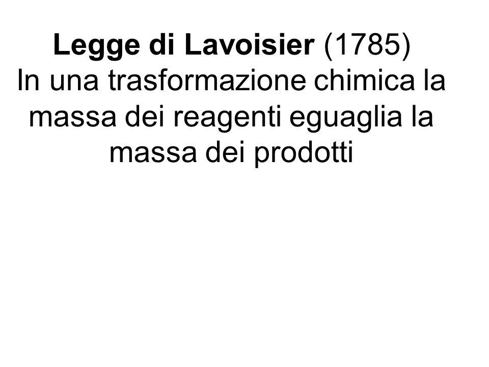 Legge di Lavoisier (1785) In una trasformazione chimica la massa dei reagenti eguaglia la massa dei prodotti.