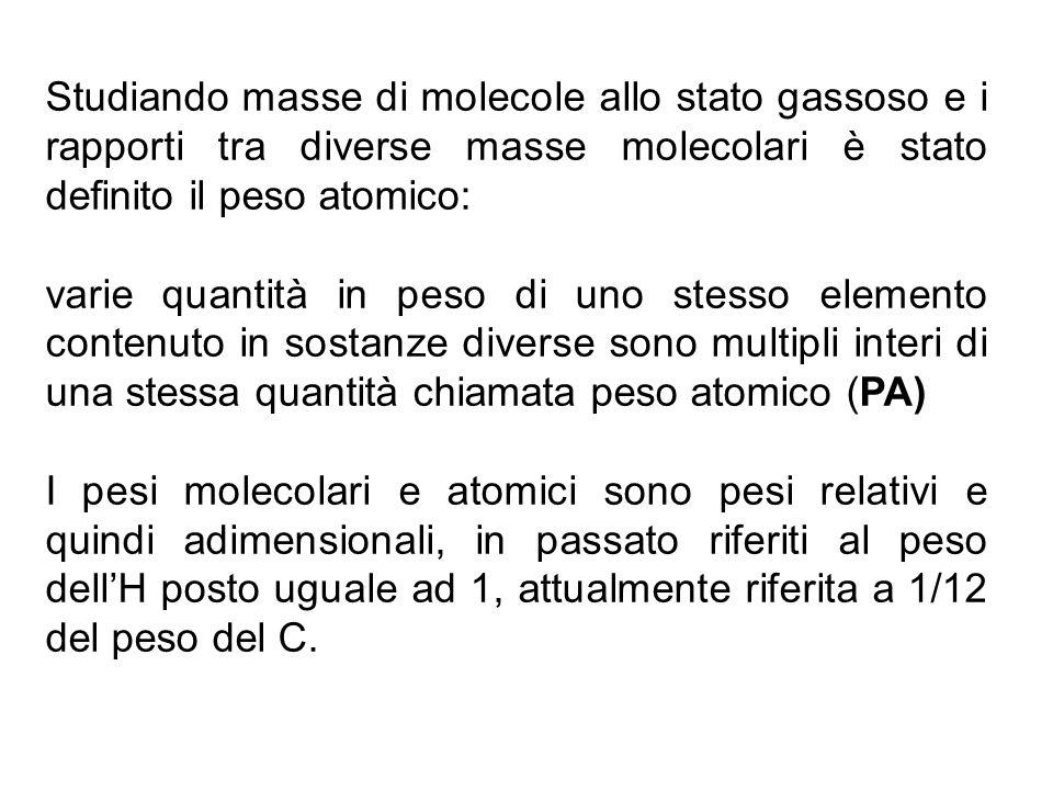 Studiando masse di molecole allo stato gassoso e i rapporti tra diverse masse molecolari è stato definito il peso atomico: