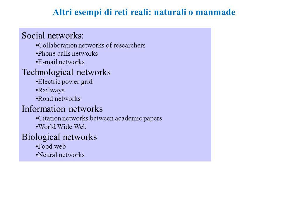 Altri esempi di reti reali: naturali o manmade