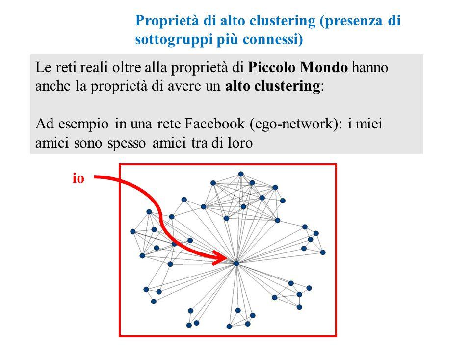 Proprietà di alto clustering (presenza di sottogruppi più connessi)
