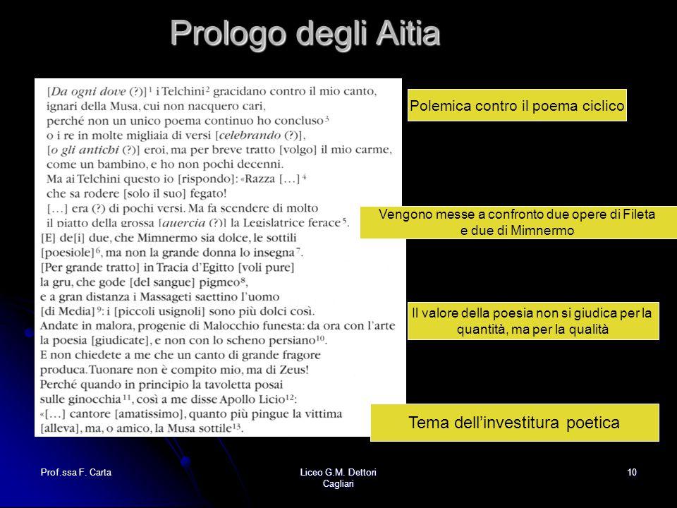 Prologo degli Aitia Tema dell'investitura poetica