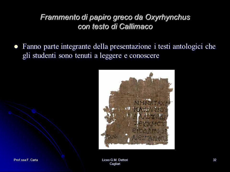 Frammento di papiro greco da Oxyrhynchus con testo di Callimaco