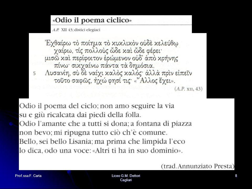 Prof.ssa F. Carta Liceo G.M. Dettori Cagliari