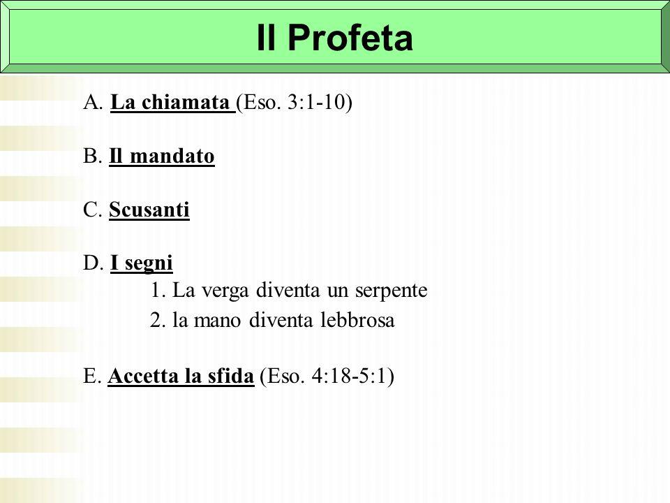 Il Profeta A. La chiamata (Eso. 3:1-10) B. Il mandato C. Scusanti