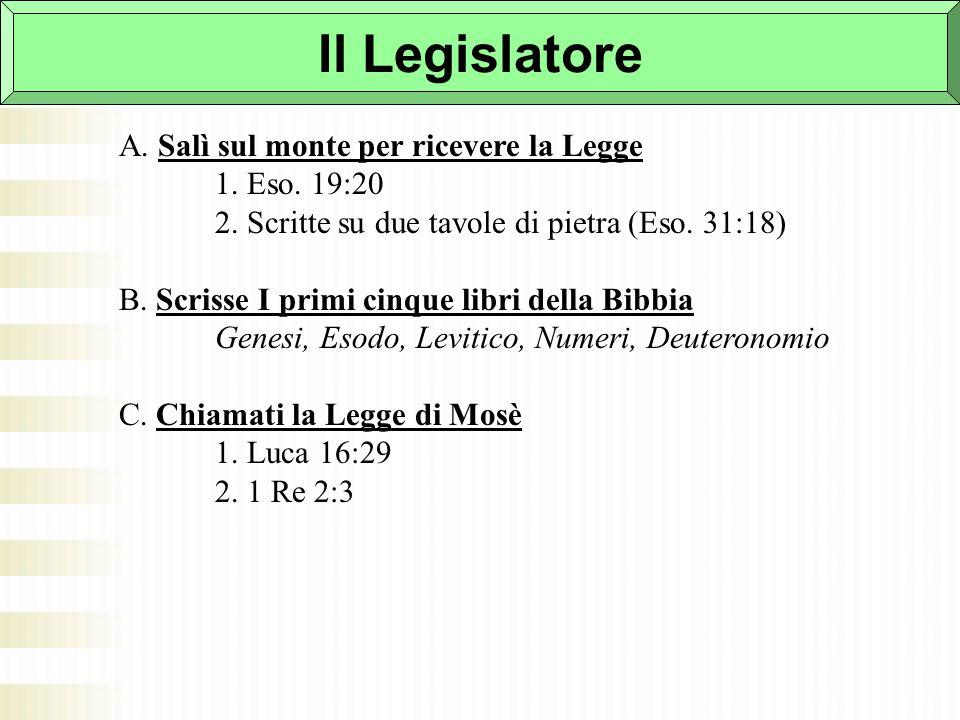 Il Legislatore A. Salì sul monte per ricevere la Legge 1. Eso. 19:20