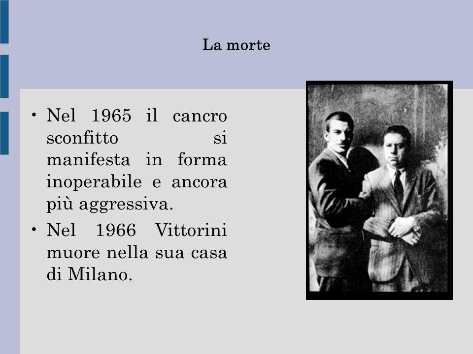 Nel 1966 Vittorini muore nella sua casa di Milano.