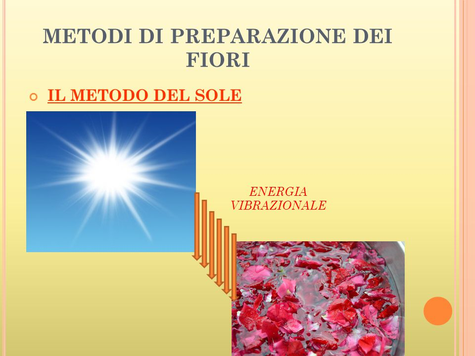 METODI DI PREPARAZIONE DEI FIORI
