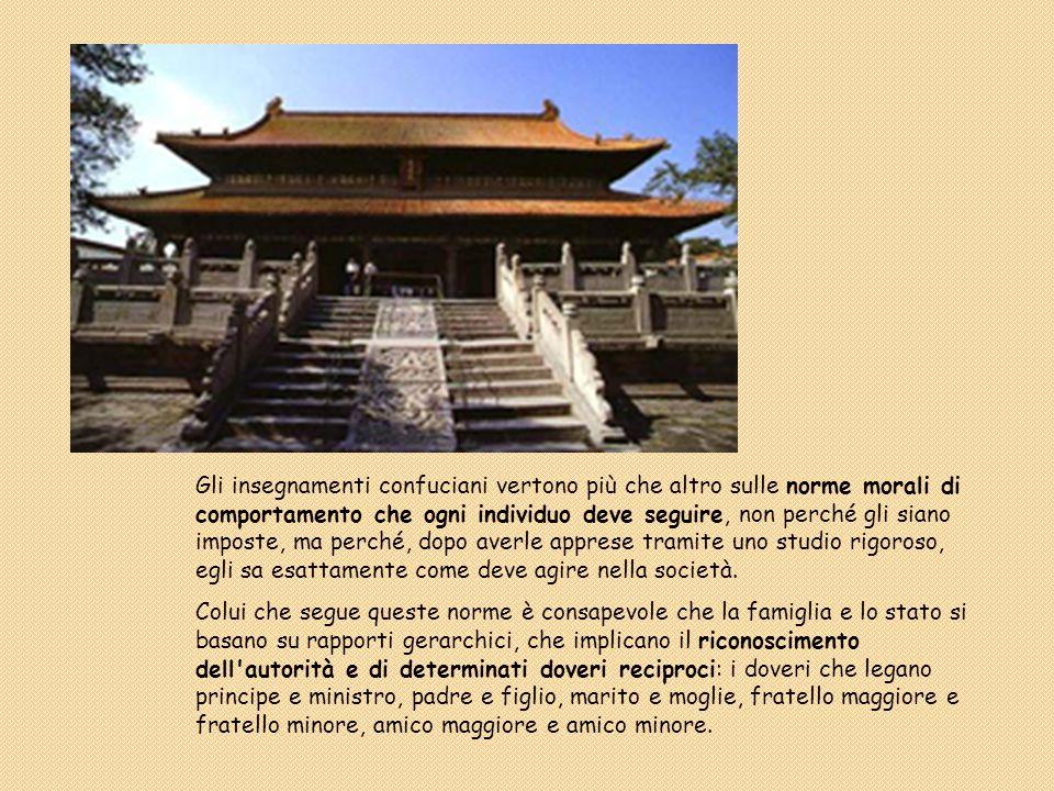 Gli insegnamenti confuciani vertono più che altro sulle norme morali di comportamento che ogni individuo deve seguire, non perché gli siano imposte, ma perché, dopo averle apprese tramite uno studio rigoroso, egli sa esattamente come deve agire nella società.