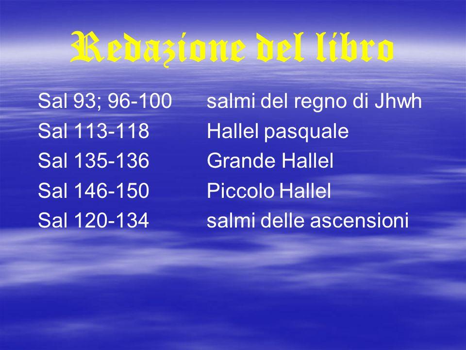 Redazione del libro Sal 93; 96-100 salmi del regno di Jhwh